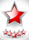 Estrelas vermelhas lustrosas com Gray Frame Imagem de Stock Royalty Free