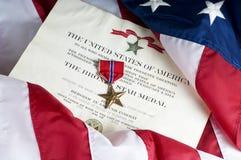 Estrella americana del bronce del ejército para el heroísmo fotografía de archivo libre de regalías