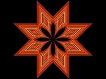 estrella anaranjada de 8 puntas en negro Foto de archivo