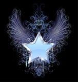 Estrella azul en un fondo oscuro stock de ilustración