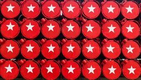 Estrella blanca en un fondo rojo Fotografía de archivo