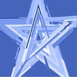 estrella Blanco-azul en un contexto azul stock de ilustración
