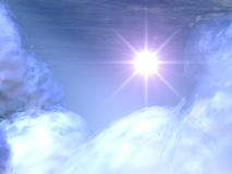 Estrella brillante en las nubes celestes #2 ilustración del vector