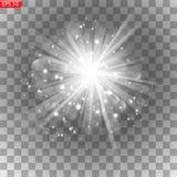 Estrella brillante, flashes de la luz, ilustración del vector