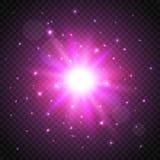 Estrella cósmica del brillo en fondo transparente efecto del resplandor Ilustración del vector ilustración del vector