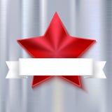 Estrella cinco-acentuada brillante roja en fondo metálico con la bandera blanca Textura realista del metal Fotos de archivo