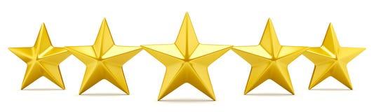 Estrella cinco que valora las estrellas de oro brillantes Imágenes de archivo libres de regalías