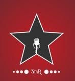Estrella con el micrófono Foto de archivo libre de regalías