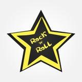 Estrella con rock-and-roll manuscrito del texto Imagen de archivo libre de regalías