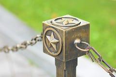 Estrella de bronce cerca del monumento del fuego eterno en Moscú Imágenes de archivo libres de regalías