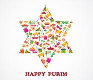 Estrella de David con los objetos del día de fiesta del purim Fotografía de archivo libre de regalías