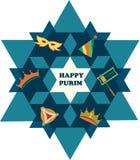 Estrella de David con los objetos del día de fiesta judío Foto de archivo libre de regalías