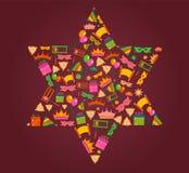 Estrella de David con los objetos del día de fiesta del purim Imagen de archivo libre de regalías