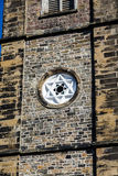 Estrella de David en la pared de piedra vieja Foto de archivo