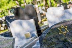 Estrella de David en la piedra sepulcral Fotografía de archivo