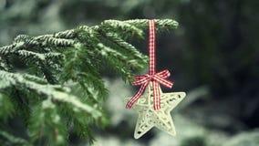 Estrella de la decoración de la Navidad que cuelga en el árbol de abeto nevoso, slom-movimiento almacen de metraje de vídeo