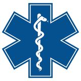 Estrella de la emergencia - ingenio médico de la serpiente del caduceo del símbolo Fotos de archivo
