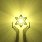 Estrella de la flama de la luz de la mano de David ilustración del vector