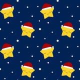 Estrella de la Navidad con el sombrero de santa en el modelo inconsútil de la noche de la nieve Imagen de archivo libre de regalías