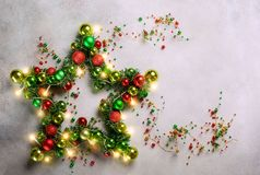 Estrella de la Navidad con las chucherías Imagen de archivo