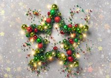 Estrella de la Navidad con las chucherías Imágenes de archivo libres de regalías