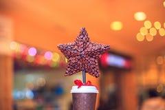 Estrella de la Navidad del café Imágenes de archivo libres de regalías