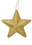 Estrella de la Navidad del oro aislada en blanco Fotografía de archivo