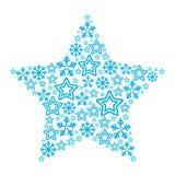 Estrella de la Navidad hecha de iconos de la estrella y de los copos de nieve Imagen de archivo