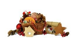 Estrella de la Navidad Regalo hecho a mano Malla del árbol de navidad de la cesta / I fotografía de archivo