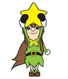 Estrella de la tenencia de la muchacha del duende de la Navidad imagen de archivo