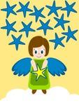 Estrella de la tenencia del ángel sobre una nube stock de ilustración