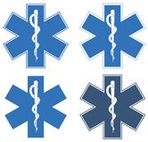 Estrella de la vida Estrella seis-acentuada azul en el centro - el Rod blanco de Asclepius imágenes de archivo libres de regalías