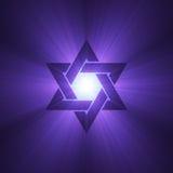 Estrella de las flamas púrpuras de la luz de David Imágenes de archivo libres de regalías