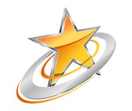Estrella de oro con órbitas circulares Foto de archivo libre de regalías