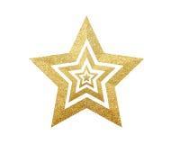 Estrella de oro de la Navidad aislada en blanco Imagen de archivo libre de regalías
