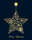 Estrella de oro de la Navidad de los copos de nieve stock de ilustración
