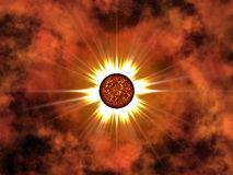 Estrella de oro en espacio. Imagen de archivo libre de regalías