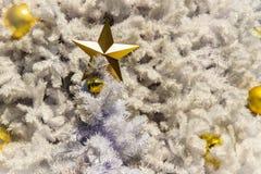 Estrella de oro y bolas de oro en la decoración blanca al aire libre del árbol de navidad Para el alero de la Navidad y la celebr Fotografía de archivo