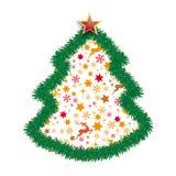 Estrella del árbol de navidad de las ramitas del abeto Imágenes de archivo libres de regalías
