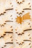 Estrella del cometa de la Navidad con el azúcar en polvo Fotografía de archivo libre de regalías