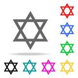 Estrella del icono de David Elementos de los iconos coloreados multi de la religión Icono superior del diseño gráfico de la calid libre illustration