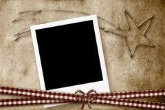 Estrella del marco de la foto de la tarjeta de Navidad de Belén Fotografía de archivo