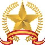 Estrella del oro con la guirnalda Imagen de archivo libre de regalías