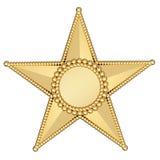 Estrella del oro con la placa en blanco aislada Imágenes de archivo libres de regalías