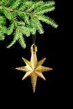 Estrella del oro (en) en fondo negro Fotografía de archivo libre de regalías