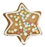 Estrella del pan de jengibre con el camino de recortes Imagen de archivo libre de regalías