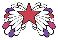 Estrella del pop rojo con alas coloreado Imagen de archivo libre de regalías