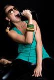 Estrella del rock femenina Imagen de archivo libre de regalías