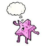 estrella del rosa de la historieta con la burbuja del pensamiento Imagen de archivo