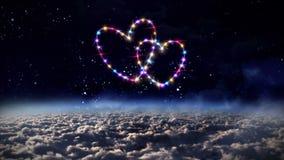 Estrella del rosa de los corazones en espacio exterior